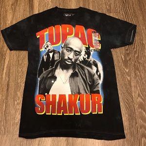 Vintage Hot Topic Tupac Tee Tie Dye Black Navy